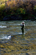 Wade Fishing Photos - Fly Fishing on the Truckee River by Russell Shively