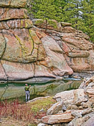 Rock Walls Prints - Fly Fishing Platte River Colorado Print by Jennie Marie Schell