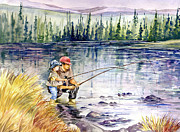 Fly Fisherman Paintings - Fly Fishing with Dad by Beth Kantor