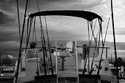 Flybridge On A Charter Fishing Boat In Early Morning Light Key West Florida Usa Print by Joe Fox