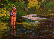 Fly Fisherman Paintings - Flyfishing Art Tying on a Fly by Patrick ODriscoll