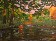 Patrick Paintings - Flyfishing  Autumn Light by Patrick ODriscoll