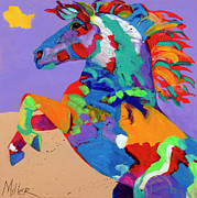 Contemporary Horse Posters - Flyin Hooves Poster by Tracy Miller
