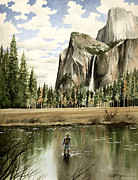Fly Fishing Art Print Posters - Flyin Yosemite Poster by David Rogers