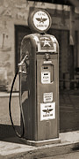 White Digital Art Posters - Flying A Gasoline - National Gas Pump 2 Poster by Mike McGlothlen