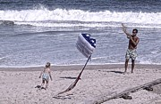 Independance Day Photo Posters - Flying a Kite on the Beach I Rehoboth Beach Delaware Poster by Jim Vansant