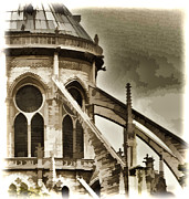 Notre Dame Cathedral Prints - Flying Buttress At Notre Dame Print by Jon Berghoff