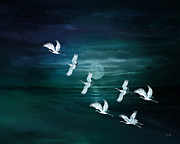 Wild Geese Prints - Flying By The Moon Bay Print by Bedros Awak