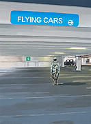 Flying Painting Framed Prints - Flying Cars to the Right Framed Print by Scott Listfield