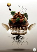 Tree Roots Digital Art Posters - Flying cupcake  Poster by AMS  London