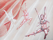 Impression Drawings - Flying Dancers  by Irina Sztukowski