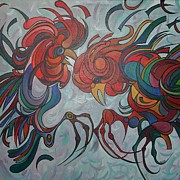 Fathers Paintings - Flying Feathers by Tracey Harrington-Simpson