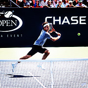 Backhand Prints - Flying Federer  Print by Nishanth Gopinathan