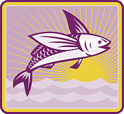 Flying Fish Posters - Flying Fish At Sea Oceam Square Retro Poster by Aloysius Patrimonio