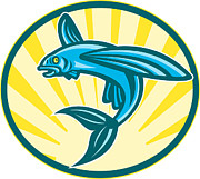 Woodcut Digital Art Posters - Flying Fish Jumping Retro Woodcut Poster by Aloysius Patrimonio