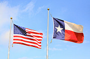Flags Flying Prints - Flying Flags of the US and Texas Print by Linda Phelps