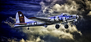 United States Army Air Forces Framed Prints - Flying Fortress B-17 Aluminum Overcast Blue Sky Framed Print by F Leblanc