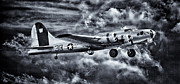 United States Army Air Forces Framed Prints - Flying Fortress B17 Aluminum Overcast B and W Framed Print by F Leblanc