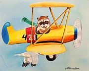 Biplane Paintings - Flying Friends by LeAnne Sowa