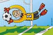 Men Framed Prints - Flying Goalkeeper Catching Ball Framed Print by Frank Ramspott