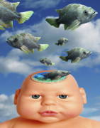Baby Digital Art - Flying Head Fish by Keith Dillon