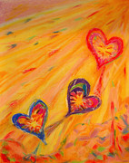 Kelly Pastels Metal Prints - Flying Hearts Metal Print by Kelly Athena