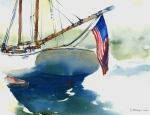 American Flag Painting Originals - Flying Her Colors by William Beaupre