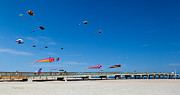 Kites Photos - Flying Kites from the Pier by Michelle Wiarda