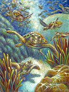 Baby Sea Turtle Paintings - Flying Loggerhead Turtles by Nancy Tilles