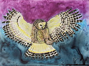 Mammal Pastels Metal Prints - Flying Owl Metal Print by Jeanne Fischer