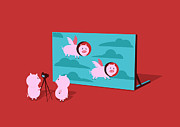 Cute Cartoon Digital Art Framed Prints - Flying pig Framed Print by Budi Satria Kwan