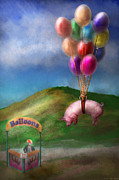 Balloons Posters - Flying Pig - Child - How I wish I were a bird Poster by Mike Savad