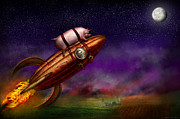 Journey Posters - Flying Pig - Rocket - To the moon or bust Poster by Mike Savad