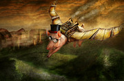 Vintage Digital Art Metal Prints - Flying Pig - Steampunk - The flying swine Metal Print by Mike Savad