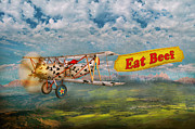 Antique Digital Art Metal Prints - Flying Pigs - Plane - Eat Beef Metal Print by Mike Savad