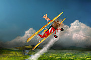 Biplane Prints - Flying Pigs - Plane - Hog Wild Print by Mike Savad