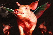 Belly Digital Art Prints - Flying Pigs v2 Print by Wingsdomain Art and Photography