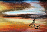 Sailboat Ocean Pastels - Flying Proa by R Kyllo