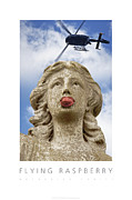 Humorous Framed Prints Digital Art - Flying Raspberry Naturally Fruity Poster by David Davies