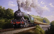 Vintage Art Paintings - Flying Scotsman on Broadsands viaduct. by Mike  Jeffries