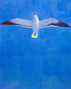 Flying Seagull Painting Framed Prints - Flying Seagull Framed Print by Lutz Baar