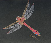 Dragonfly Drawings Framed Prints - Flying Solo Framed Print by Marcia Weller-Wenbert