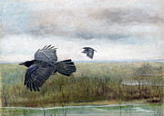 Crows Pastels - Flying to the Roost by Barb Kirpluk
