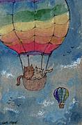 Balloon Drawings - Flying Together by Angel  Tarantella