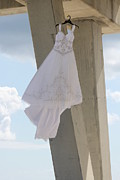 Pensacola Fishing Pier Posters - Flying Wedding Dress 1 Poster by Michelle Powell