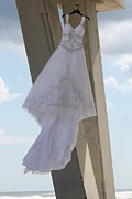 Pensacola Fishing Pier Posters - Flying Wedding Dress 2 Poster by Michelle Powell