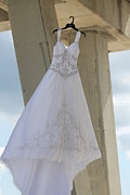 Pensacola Fishing Pier Posters - Flying Wedding Dress 3 Poster by Michelle Powell