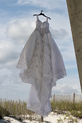 Pensacola Fishing Pier Posters - Flying Wedding Dress 4 Poster by Michelle Powell