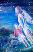 Moonlight Paintings - Flying with an Angel  by Trudi Doyle