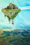 Storybook Prints - Flying with an Island Print by Jutta Maria Pusl